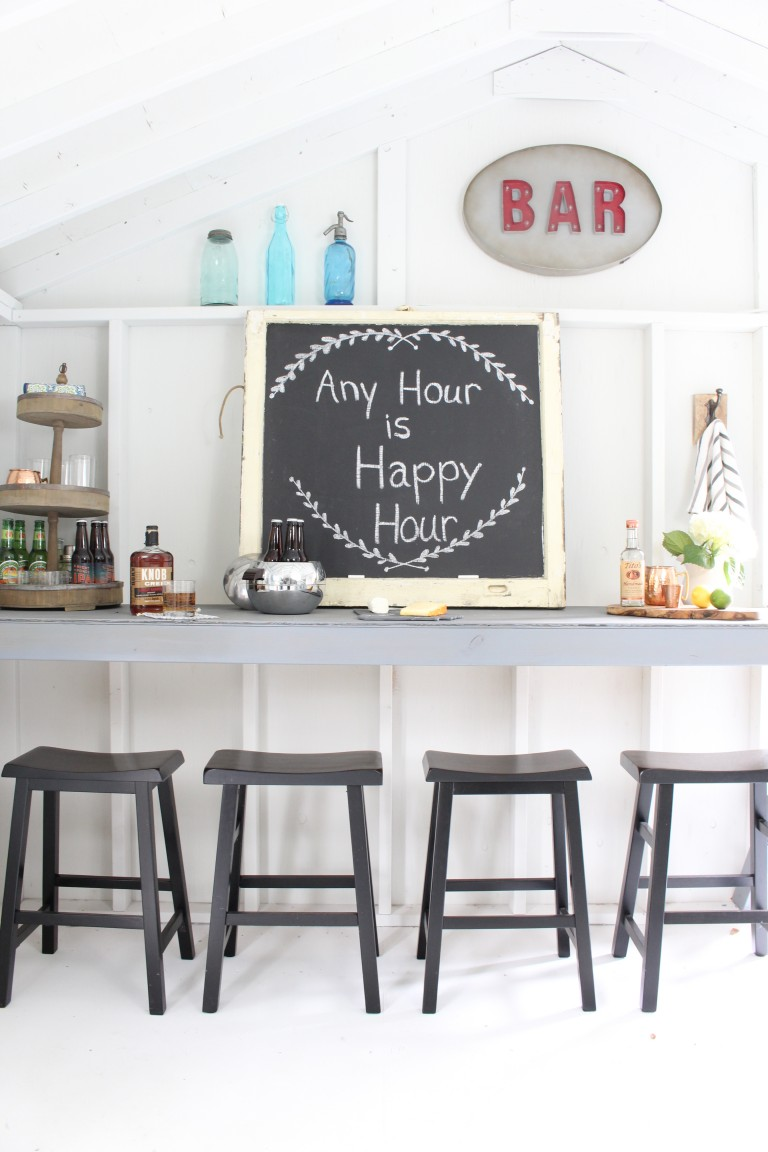 She Shed bar area for end of summer cocktail