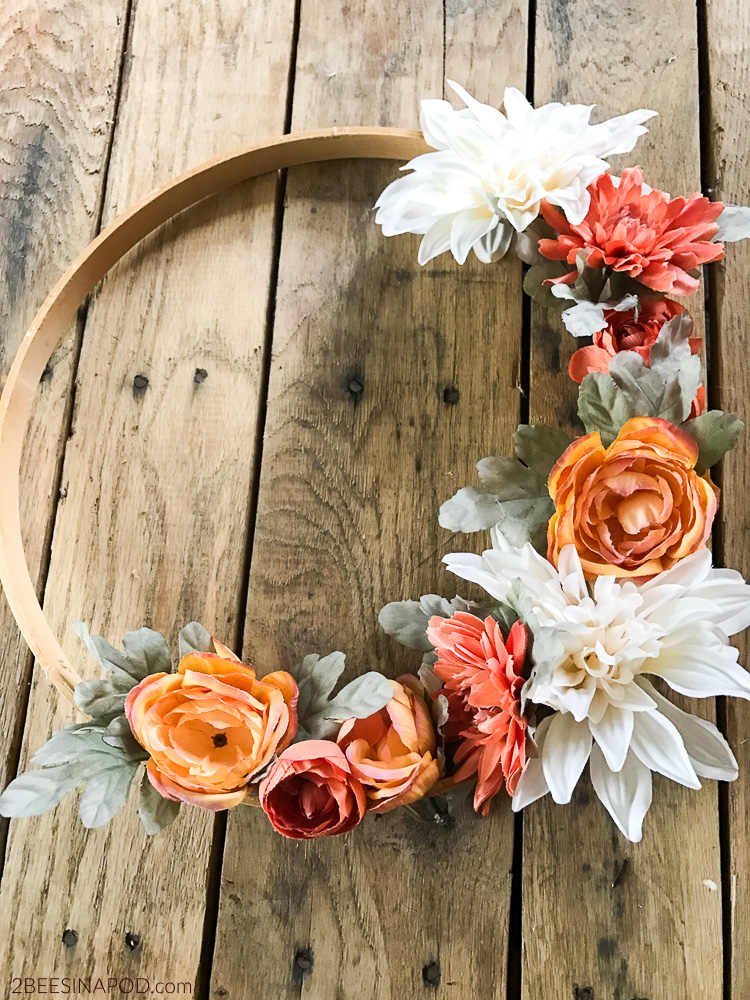 Fall wreath made with embroidery hoop