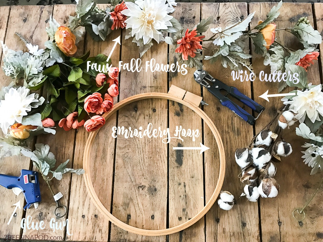 Items you'll need to make your fall embroidery hoop wreath