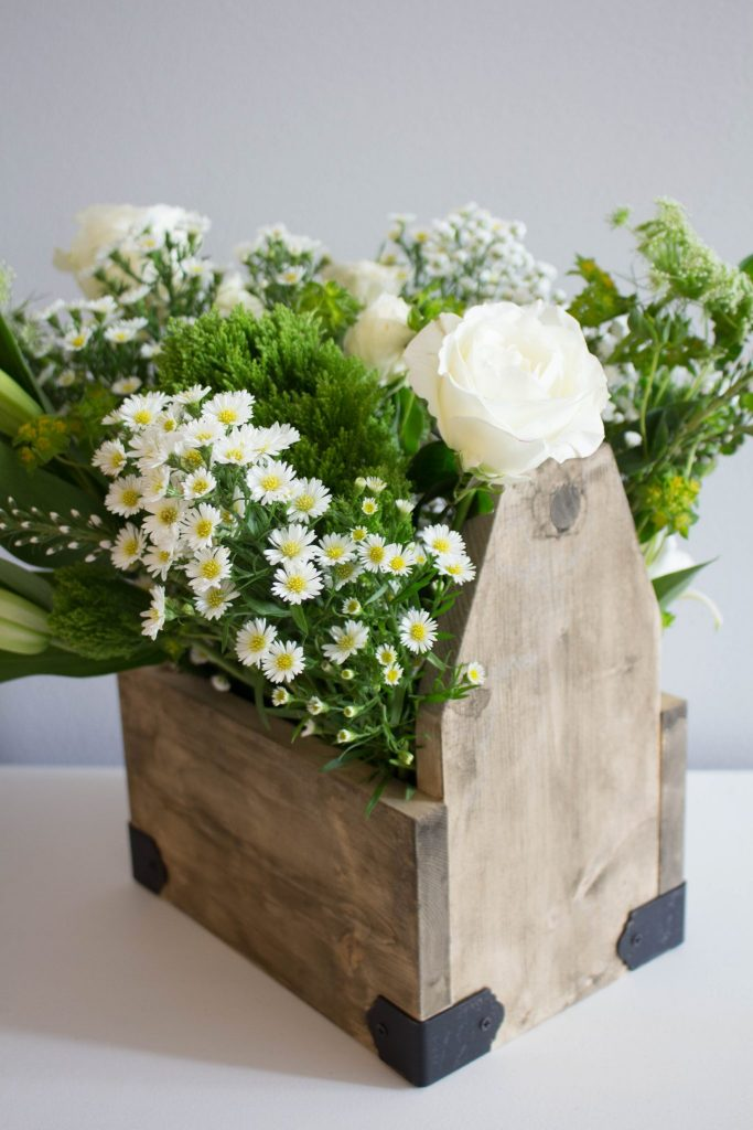 Weathered Wood Farmhouse Caddy - Make New Look Old with beautiful flowers.