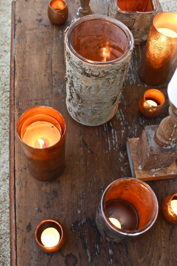 free fall decorating ideas can be candles in a grouping on a coffee table