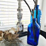 free fall decor ideas can be glass bottles. no need to spend money on fall decor