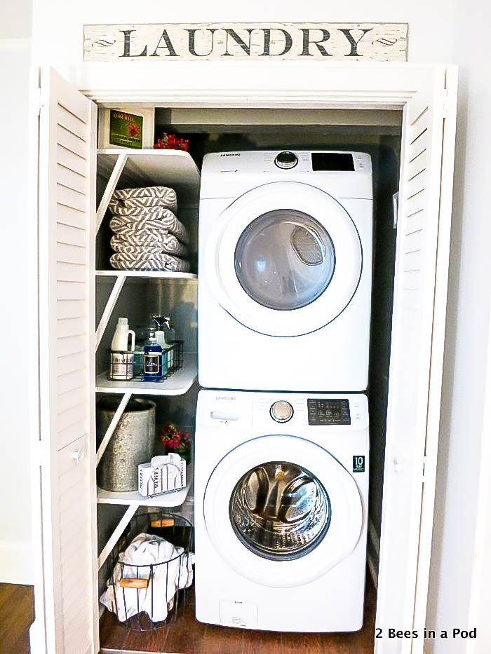 The 30 Day Home Decluttering Plan. Small laundry room ideas. Stack full sized washer and dryer.