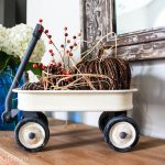 Painted wagon makeover. Use chalk paint on a toy radio flyer toy wagon to make it look rustic and farmhouse style.