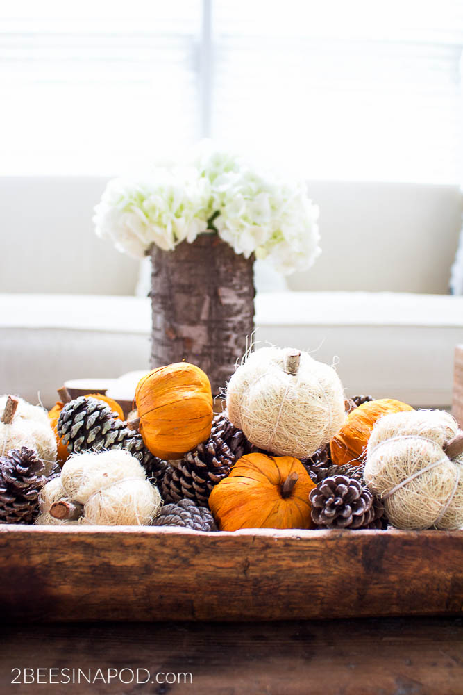 Easy Fall Centerpiece in Minutes. Fall decor made easy in minutes vintage dough bowl pumpkins and pinecones.