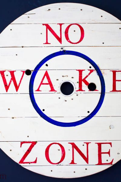 No Wake Zone Sign Made From Wire Spool