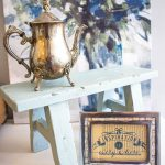 Painted milk bench. Painted bench in vintage blue chalky paint.