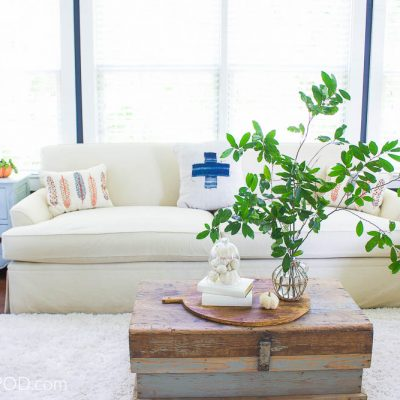 Simple Blue and White Fall Living Room