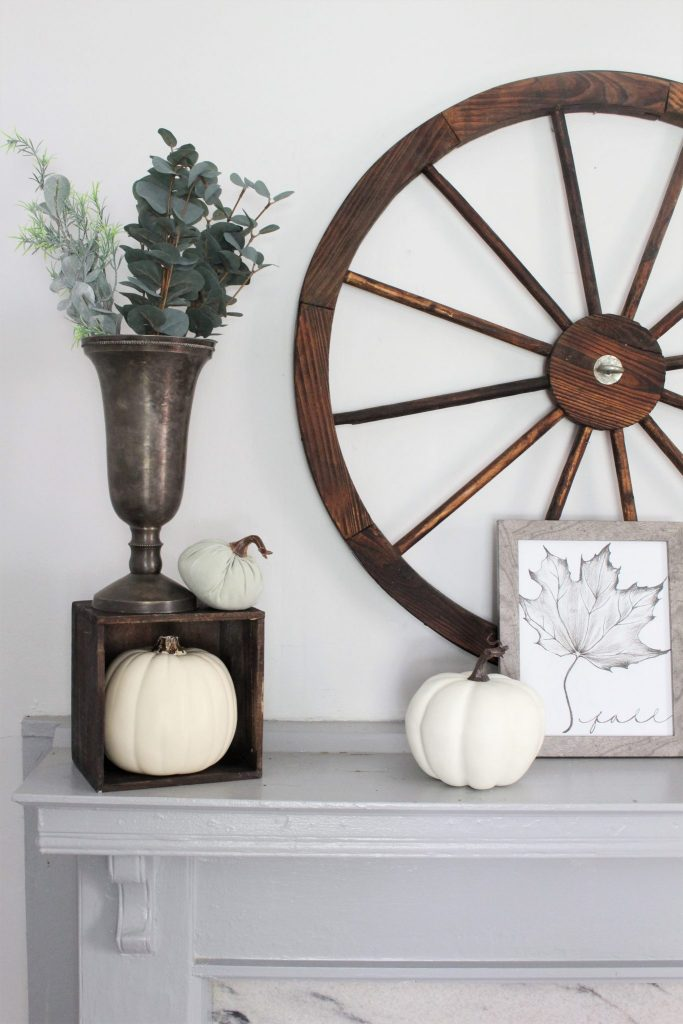 Fall neutral decor for the mantel