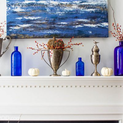 Pretty Blue and White Fall Mantel Decor