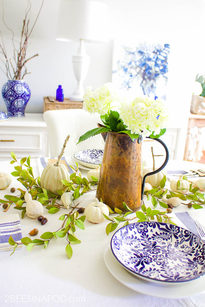 Blue and White Fall Tablescape