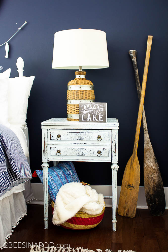 Navy Blue and White Bedroom - Lake Cottage Style