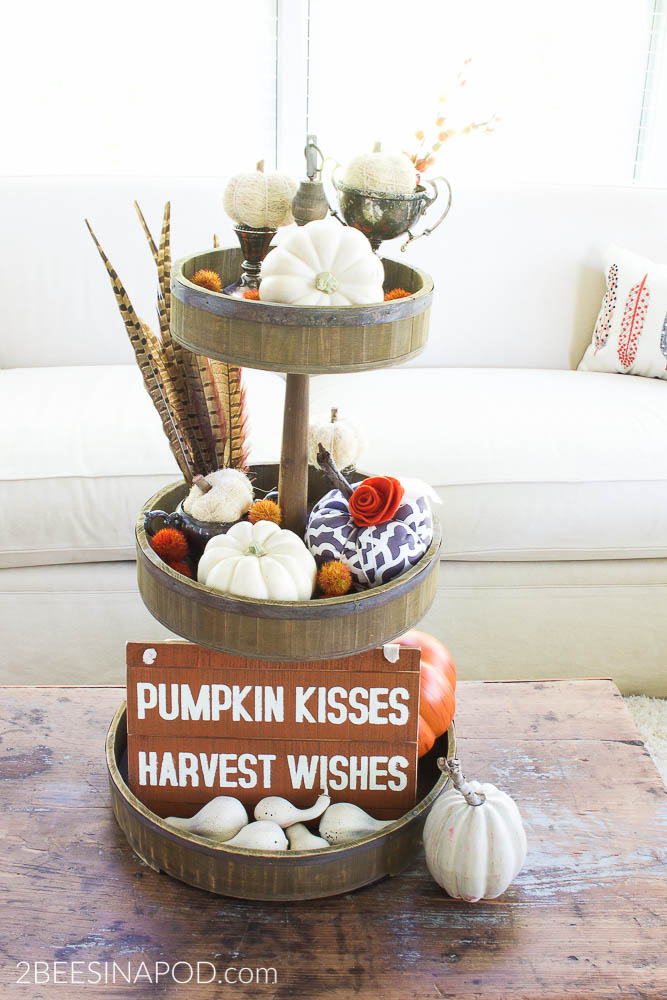 Fall tiered tray decor 2 bees in a pod for 3 tier pumpkin decoration