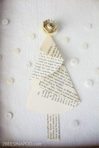 Framed Book Page Christmas Tree – Thrift Store Challenge