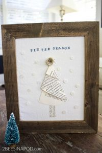 Framed Book Page Christmas Tree