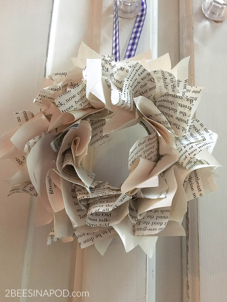 DIY Mini Book Page Wreath
