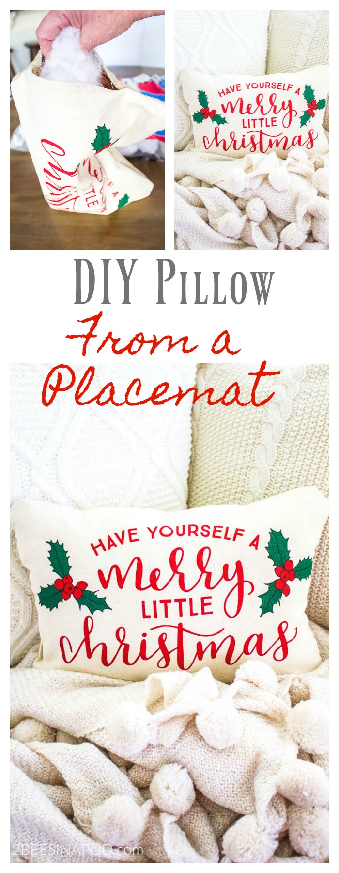 Easy christmas pillow from placemats 2 bees in a pod we have joined up with some of our friends and we will be sharing creative gift wrap ideas solutioingenieria Choice Image