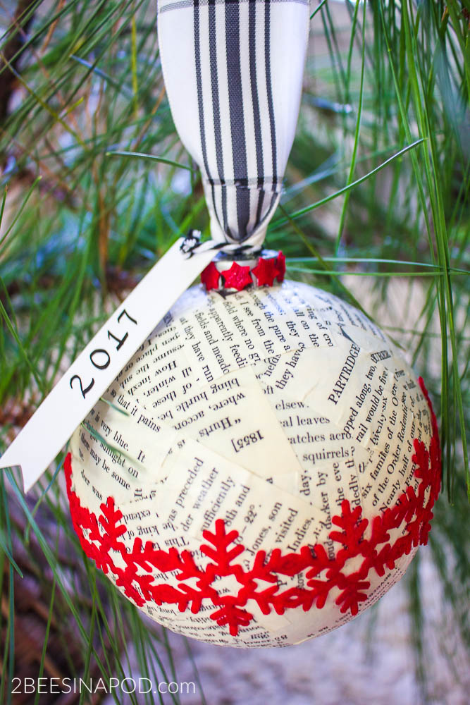 Book page Christmas ornament and ornament exchange with 47 bloggers