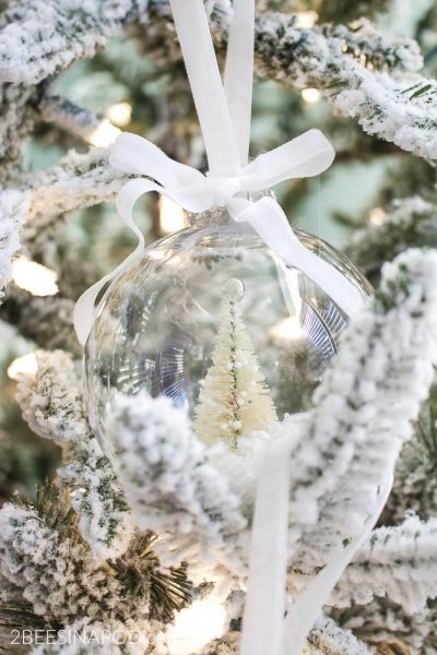 DIY Bottlebrush Christmas Tree Snow Globe Ornaments