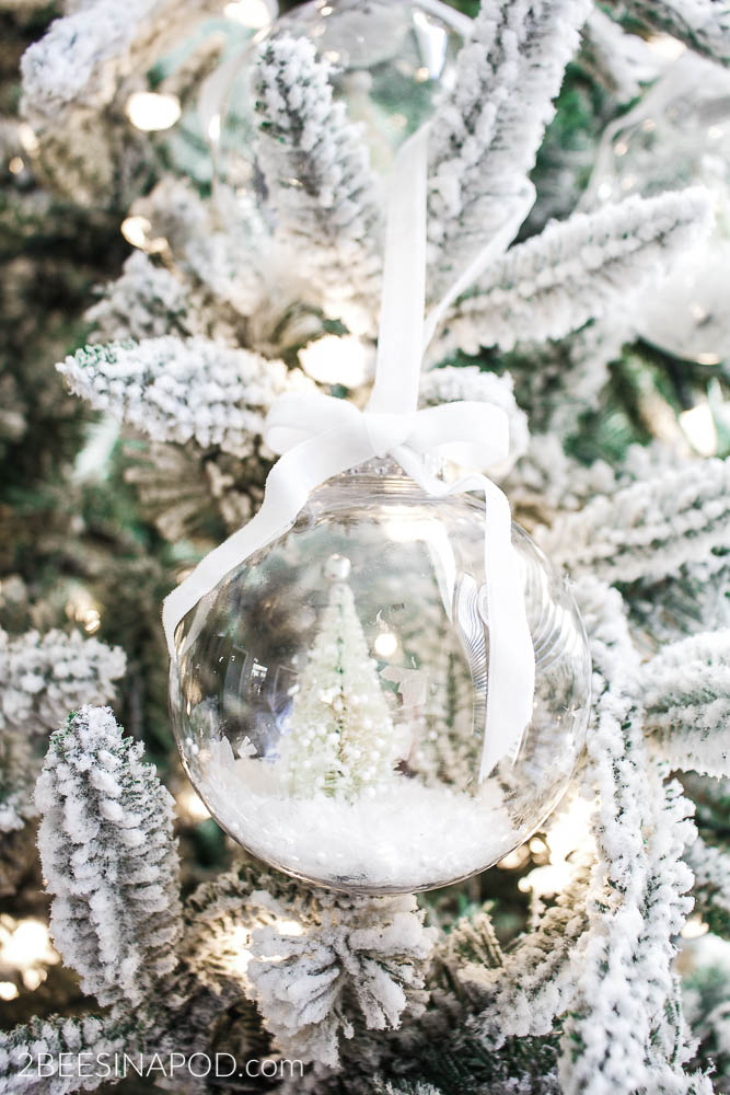 DIY Bottlebrush Christmas Tree Snow Globe Ornament