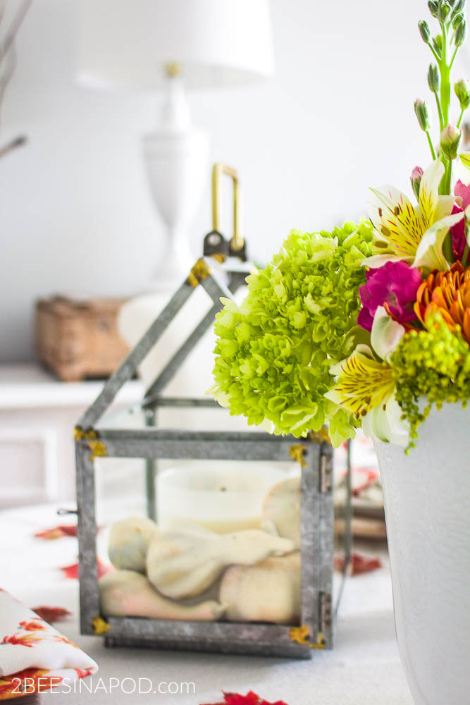 Colorful Thanksgiving Tablescape with Galvanized Feathers and Printable.