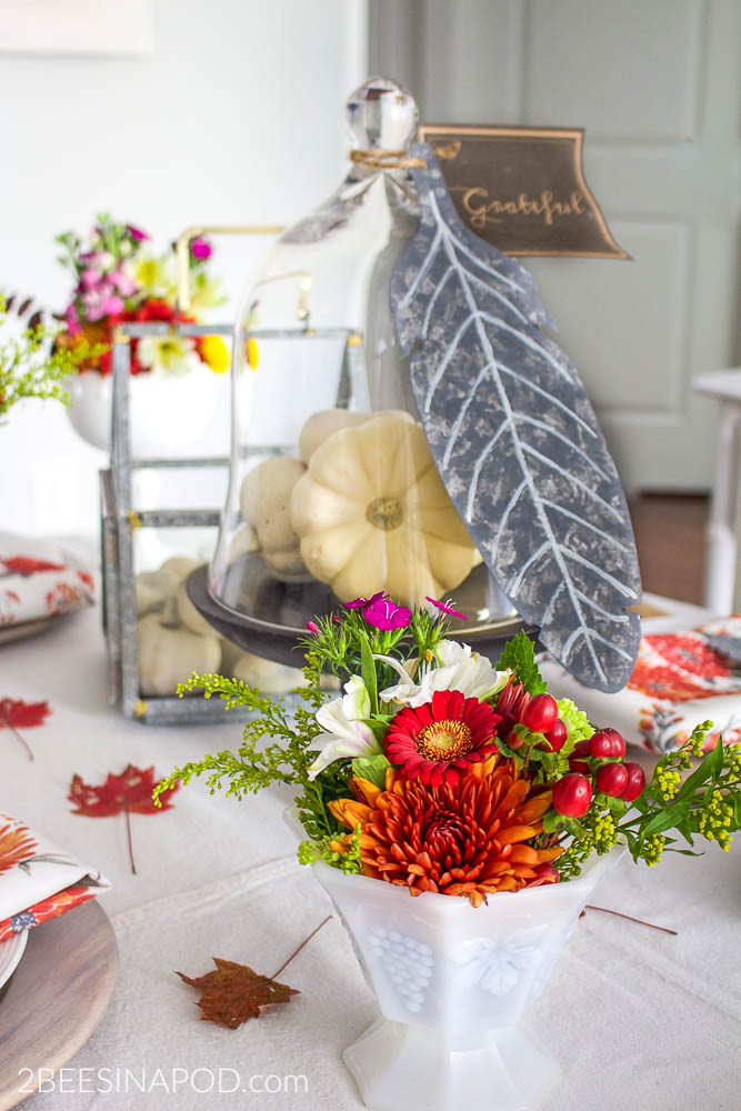 Colorful Thanksgiving Tablescape with Galvanized Feathers and Printable. Colorful Thanksgiving Tablescape with Galvanized Feathers and Printable