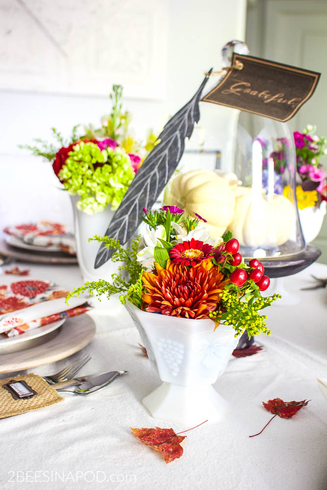 Colorful Thanksgiving Tablescape with Galvanized Feathers and Printable