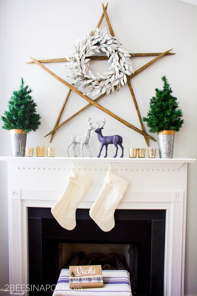 Sparkle and Shine Rustic Christmas Mantel