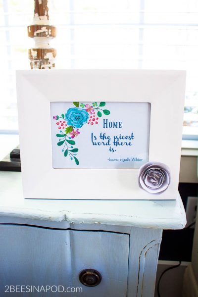 Painted Thrift Store Frame and Printable