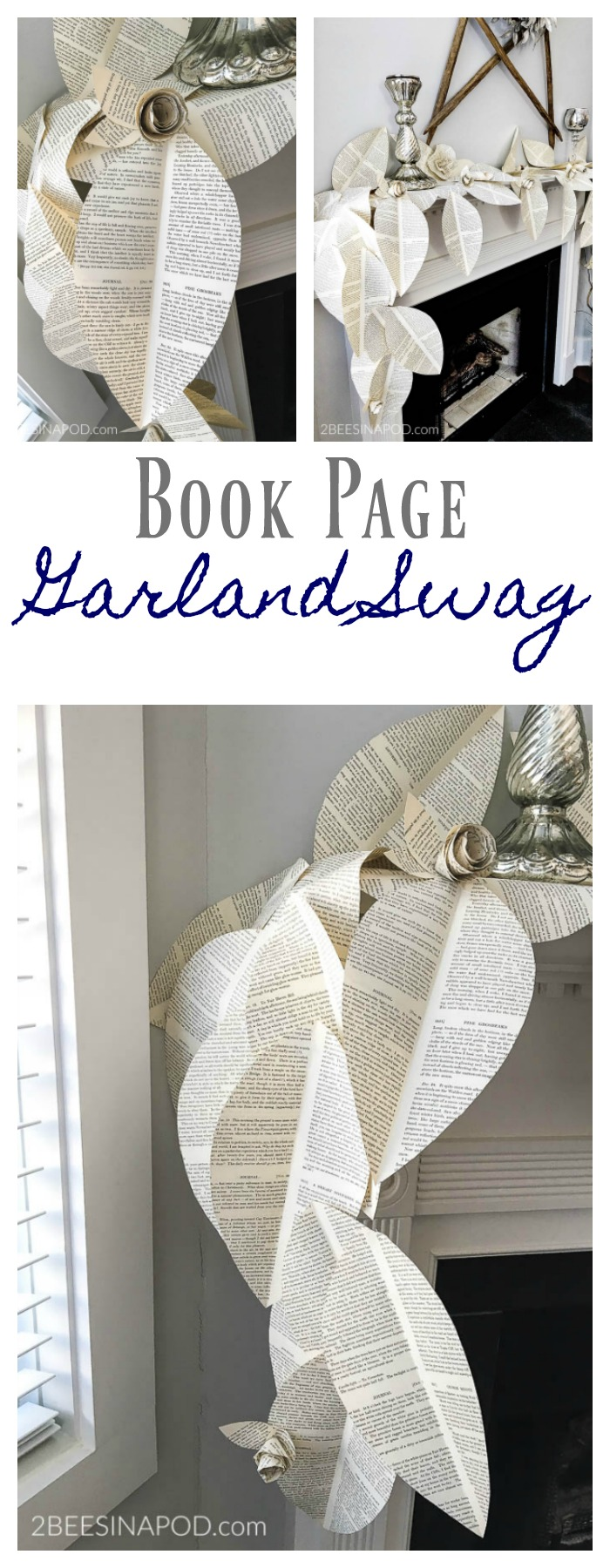 Book Page Garland Swag - so pretty and feminine with paper roses