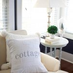 Living Room Decor During Winter. Cottage drop cloth pillow is cozy and inviting in winter living room tour