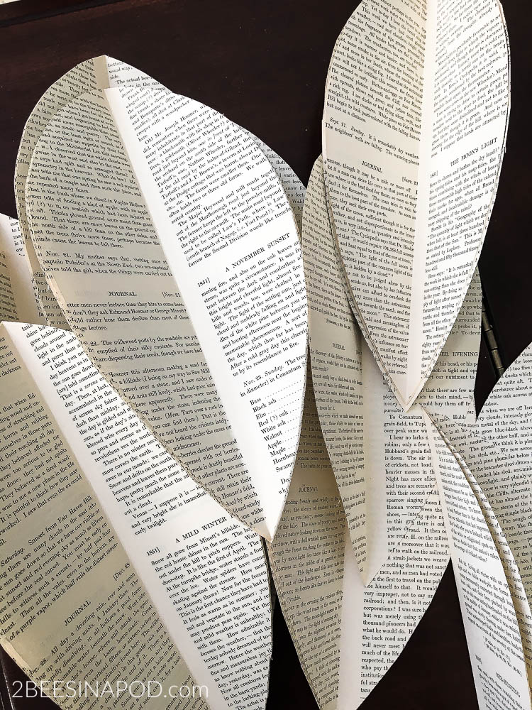 book-page-garland-swag. Cut oversized leaves with vintage pages for Book page garland swag