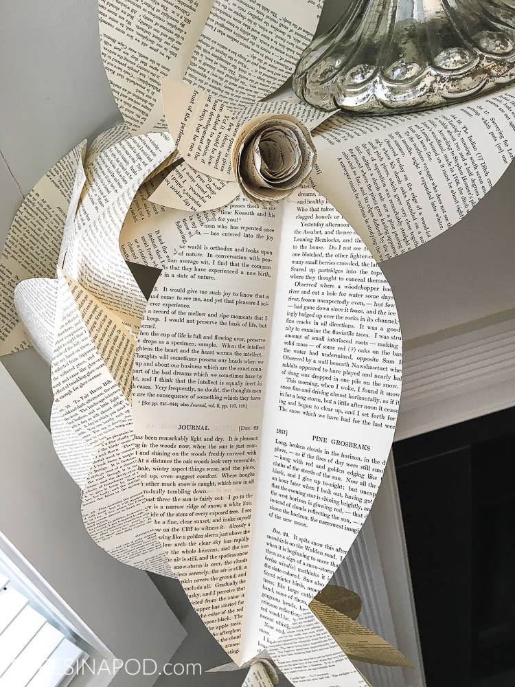 Book page garland swag with book page roses.