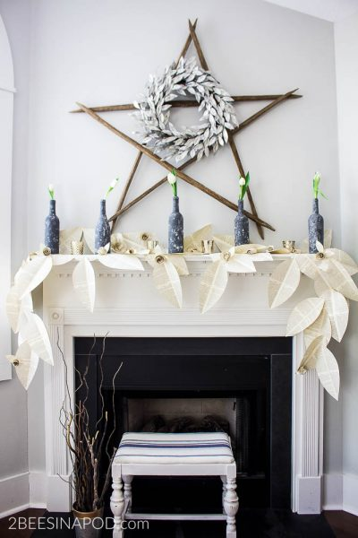 Pretty Book Page Garland Winter Mantel