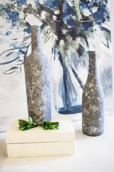 Faux Galvanized Painted Wine Bottles