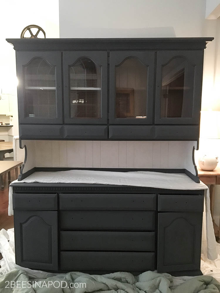 Gray Painted Hutch Makeover That Made Me Cry 2 Bees In A Pod