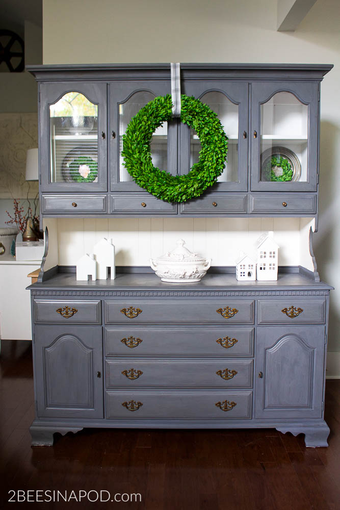 Gray Painted Hutch Makeover