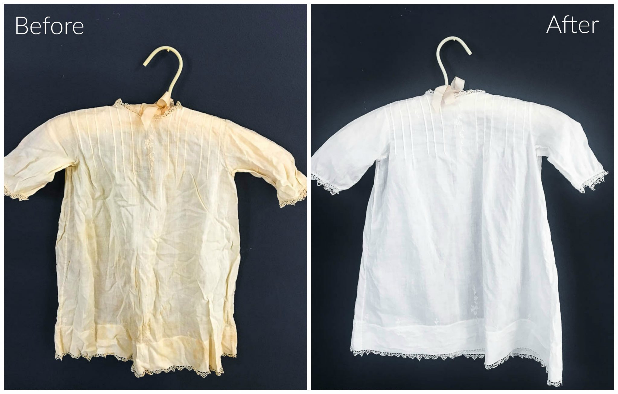 How to Clean Vintage Linens and Fabric. Night and day difference after cleaning vintage linens.