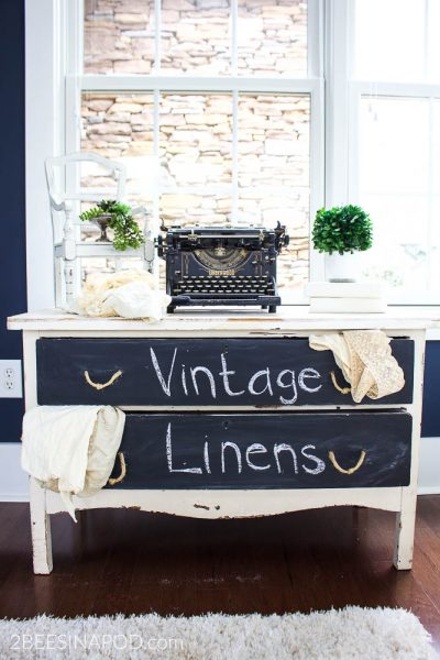 Painted Table With Chalkboard Drawers – Styled 3 Ways
