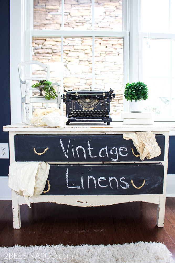 Painted Table With Chalkboard Drawers - Styled 3 Ways. Perfect garden themed vignette