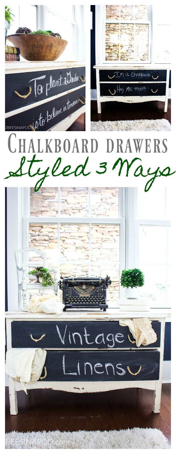 Painted Table With Chalkboard Drawers - Styled 3 Ways - 2 Bees in a Pod