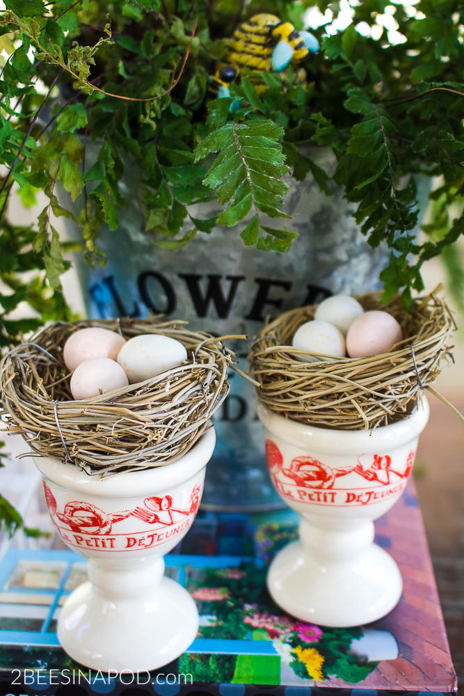 Antique French Egg Cups-Thrifty Style Team Grand Home Decor Giveaway. The egg cups are perfect for spring decor as nest holders.
