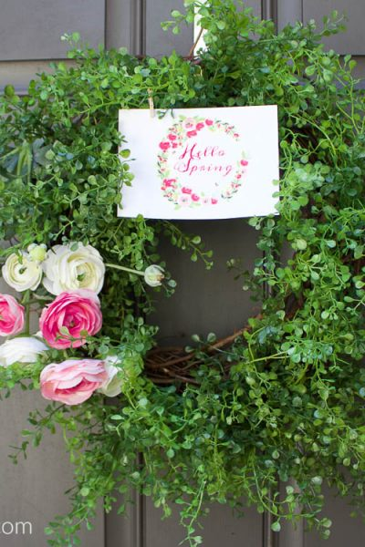 Spring Ranunculus Wreath and Printable