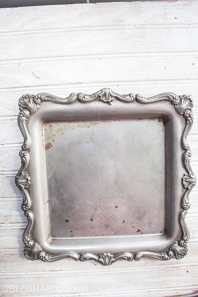 Chalk Painted Silver Tray Photo Frame 2 Bees In A Pod