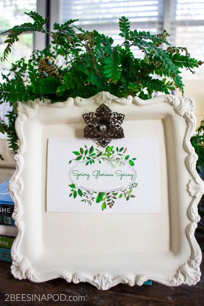 Chalk Painted Silver Tray Photo Frame