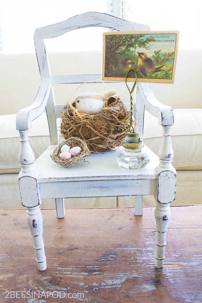 Spring Coffee Table Vignette With Nests