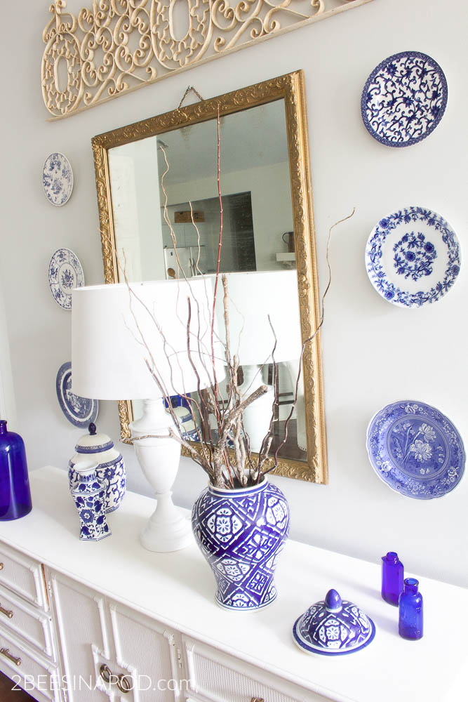 Budget Friendly Dining Room Makeover. Blue and white dining room makeover with china plates and ginger jars