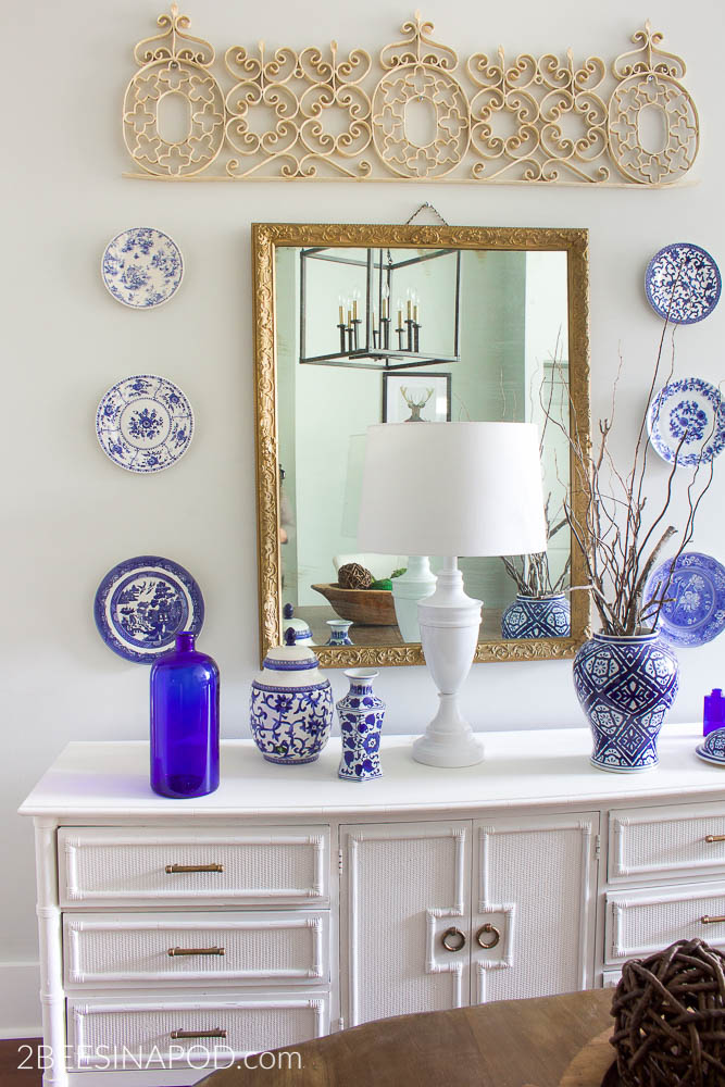 Budget Friendly Dining Room Makeover. Antique mirror