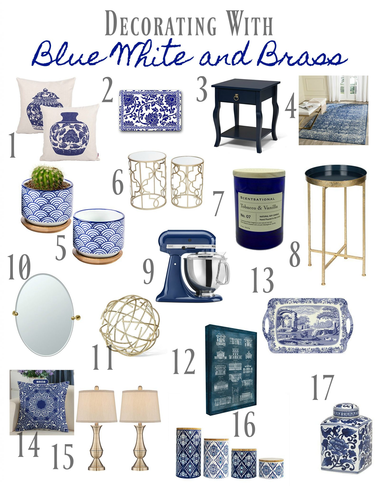 Decorating with blue and white. Blue and white home decor accessories.