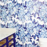 Bold Floral Blue and White Removable Wallpaper